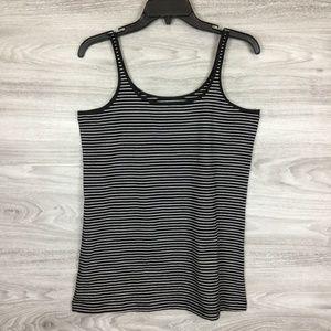Sejour Black / White Striped Slim Strap Tank
